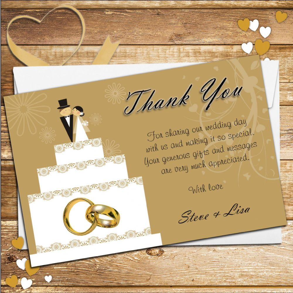 10 Personalised Cake Topper Wedding Thank You Cards N178